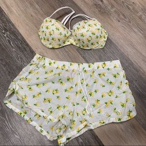 Victoria's Secret lemon bra and shorts set